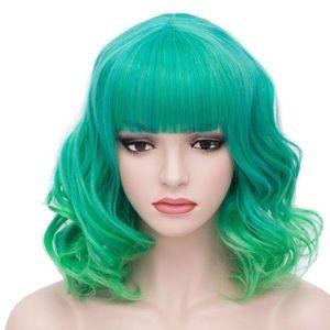 "🌸Hey Amy ! 14"" Green Ombré Short Bang Wig *NWT*🌸"